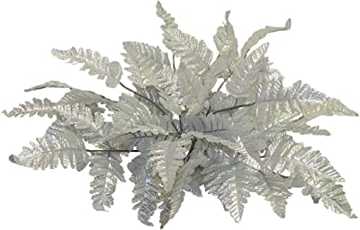 12 SILVER Leather FERN Stems Fronds Filler Silk Wedding Flowers Centerpieces