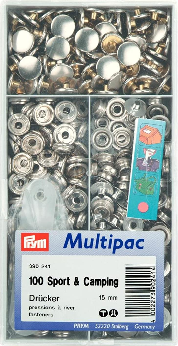 PRYM 390241 Press fasteners 'Sport & Camping' Size 15mm silver-coloured Multipac, 100 pieces