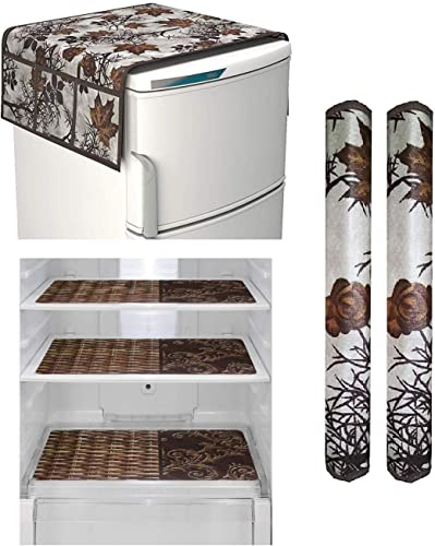Goel Home Decor Make In India Exclusive Decorative Kitchen Combo Fridge Top Cover Brown Leaf 2 Handle Covers Brown Leaf 3 Fridge Mats 6 Piece Set Bamboo Mat