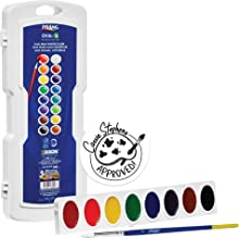 Prang Oval-16 Pan Watercolor Paint Set, 16 Assorted Colors, Refillable, Includes Brush (16000)