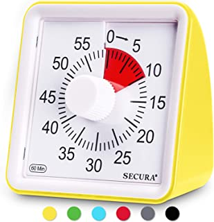 Secura 60-Minute Visual Timer, Classroom Countdown Clock, Silent Timer for Kids and Adults, Time Management Tool for Teaching (Yellow)