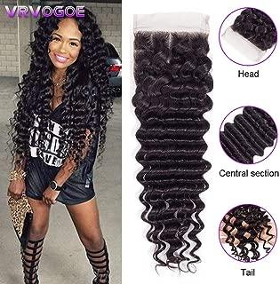 VRVOGUE 18 Inch Brazilian Deep Wave Lace Closure 4x4 Middles Part Human Hair Closure 100% Unprocessed Natural Color Virgin Brazilian Human Hair Extensions