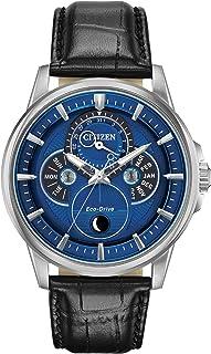 Citizen Calendrier Eco-Drive BU0050-02L - Reloj de pulsera para hombre (correa de piel negra, esfera de cuarzo azul)