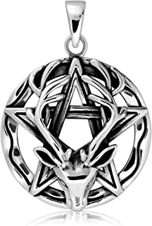 WithLoveSilver Sterling Silver 925 Wiccan Pentagram Pentacle Reindeer Horned God Cernunnos Pendant