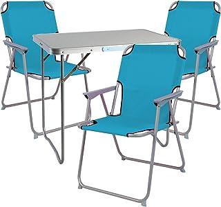 Mojawo - Nexos Trading - Juego de muebles de camping (aluminio, 80 x 60 x 68 cm, 1 mesa de camping con asa y 3 sillas de acampada)