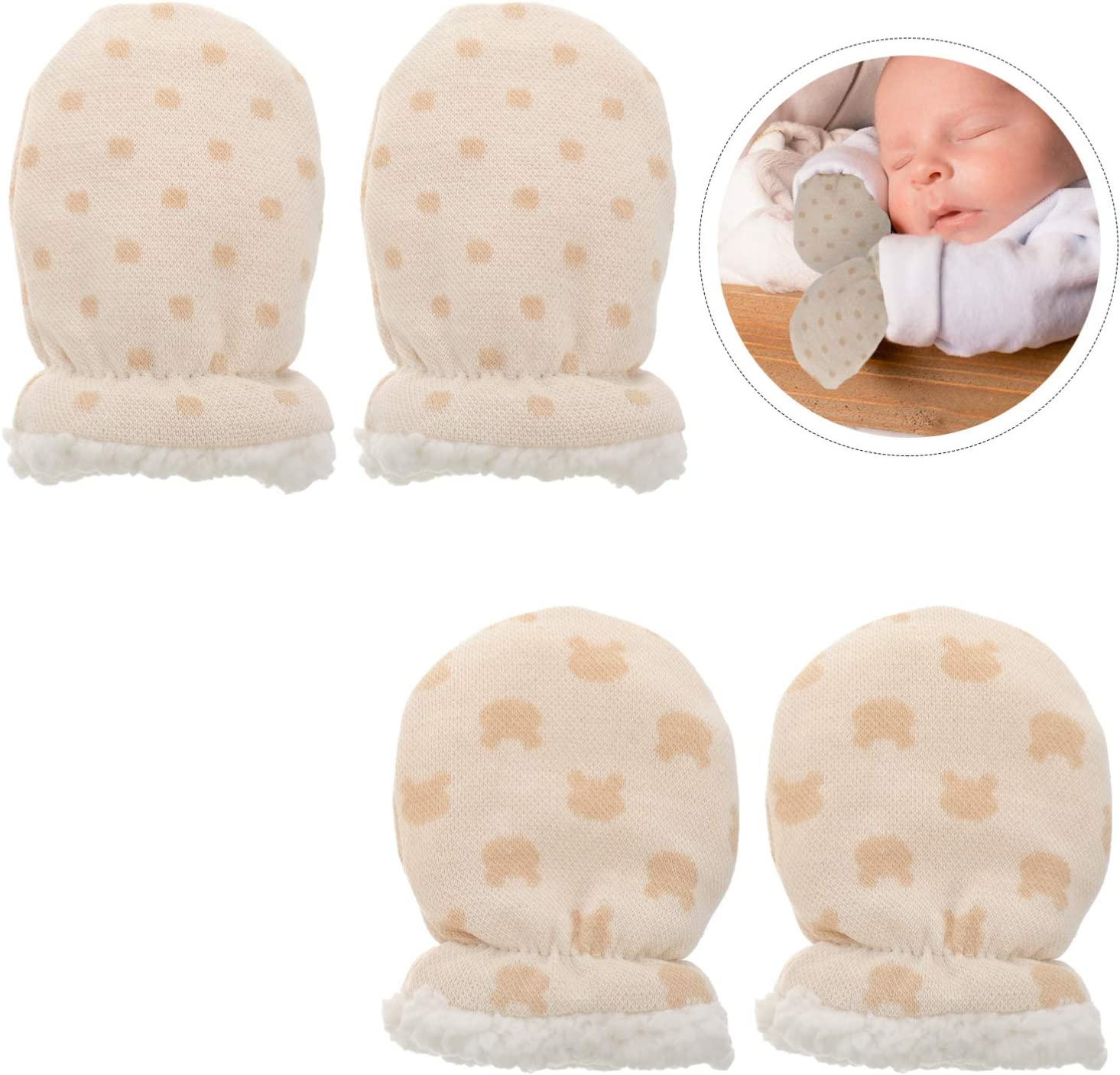 SOIMISS 2 Pairs Newborn Baby Mittens No Scratch Cotton Glove Cozy Thickened Hand Gloves Ant-Scratch Hand Covers