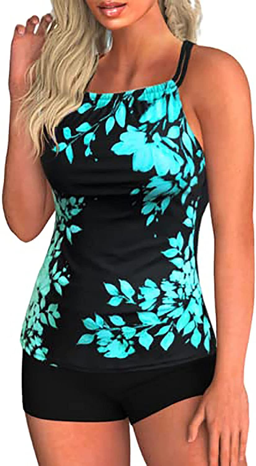Modest Tankini Swimsuits for Women Two Piece Bathing Suits Leaf Print Sports Tankini Top with Boyshorts