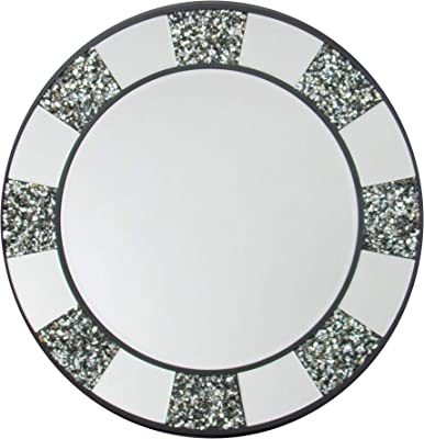 Benjara 32 Inch Beveled Round Wall Mirror with Pebble Inlay, Silver