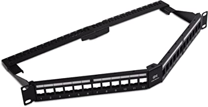 """Cable Matters 24-Port Keystone Jack Blank 19"""" Angled Patch Panel"""