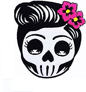 HHO Flower Sugar Skull (gray) Day of the Dead Lady Rider Patch Embroidered DIY Patches, Cute Applique Sew Iron on Kids Craft Patch for Bags Jackets Jeans Clothes