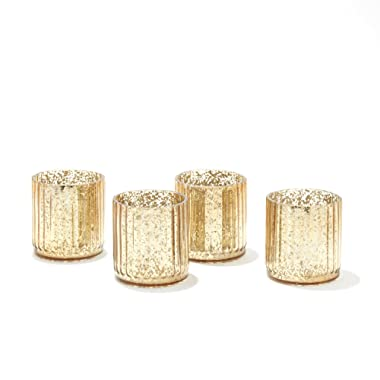LampLust Mercury Glass Candle Holders - Gold Speckled Votive Holder, Set of 4, Fits Small Candles or Tea Lights, for Christmas Decor, Holidays and Parties