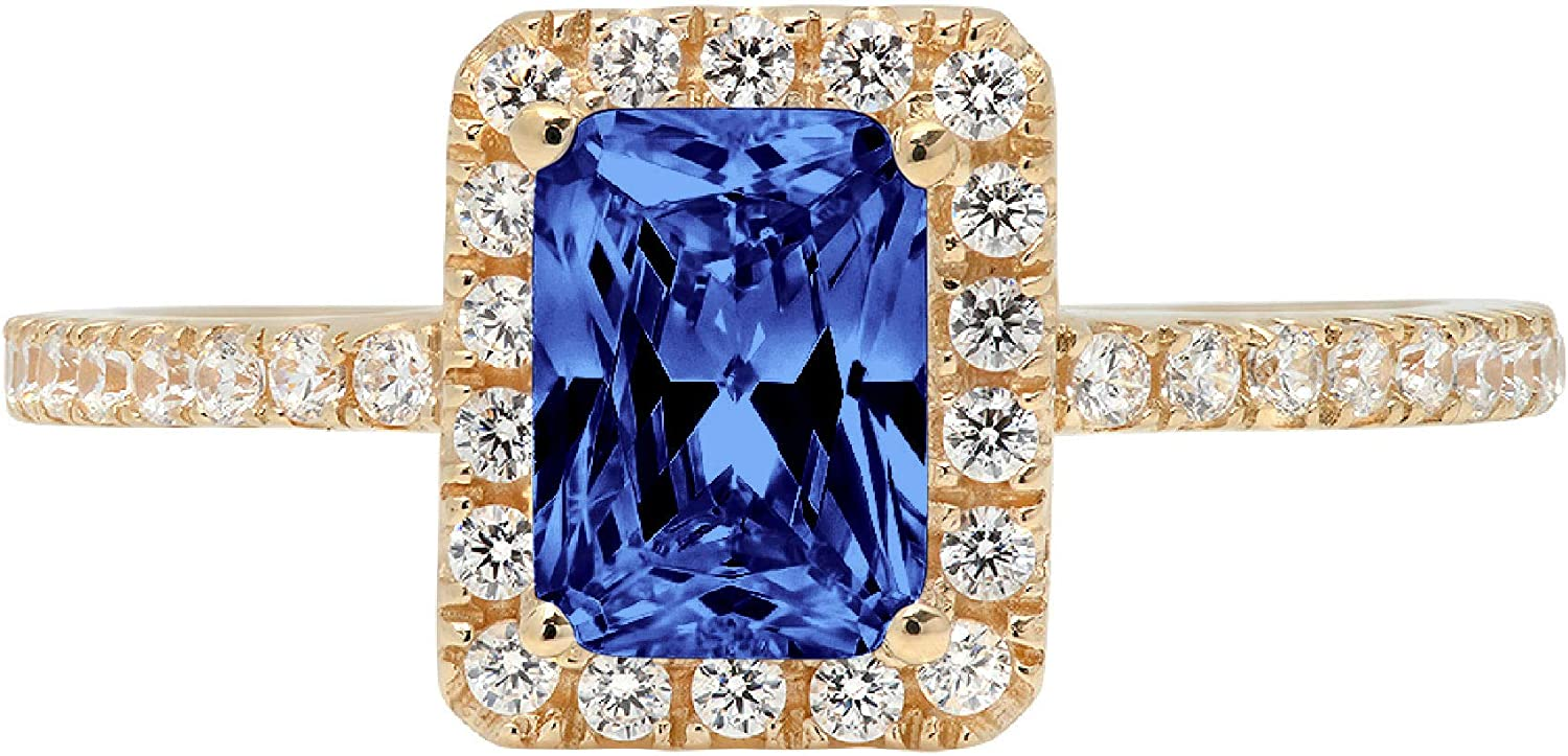 1.85ct Brilliant Emerald Cut Solitaire Accent Genuine Flawless Simulated Tanzanite Gemstone Engagement Promise Anniversary Bridal Wedding Ring Solid 18K Yellow Gold