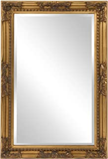 Howard Elliott Queen Ann Rectangular Hanging Wall Mirror, Beveled, Vanity, Antique Gold Leaf, 24 x 36 Inch
