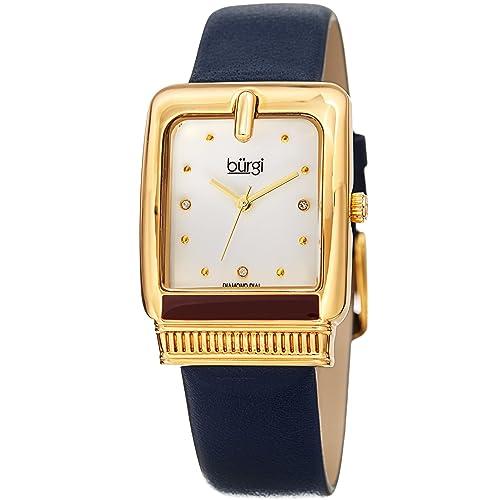 Burgi BUR192 Designer Womens Watch - Genuine Leather Strap, Diamond Markers, Rectangle, Ladies