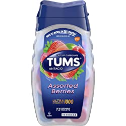 TUMS Antacid Chewable Tablets, Ultra Strength for Heartburn Relief, Assorted Berries, 72 count