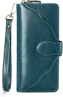 Wallets for Womens Vintage Hollow Out Hasp Lady Zipper Closure Clutch Purse Multi Retro Card Organize Wristlet RFID Blocking (Green)