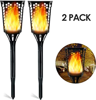 Deckey Solar Torch Light, 2 Pack Solar Garden Light with Realistic Flame,Suit for Garden, Pathway, Courtyard, Easy to Install, IP65 waterproof, FCC, ROHS, CE Certification