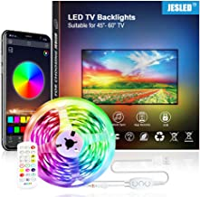 JESLED 3M TV LED Backlight, Smart Bluetooth LED Strip lights with Built-in Mic, Music Sync, RGB Color Changing LED Light S...