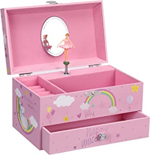 """SONGMICS Unicorn Ballerina Jewelry, Music Box with Pullout Drawer, Ring Slots and Divided Compartments, 7.5""""L x 4.3""""W x 4...."""