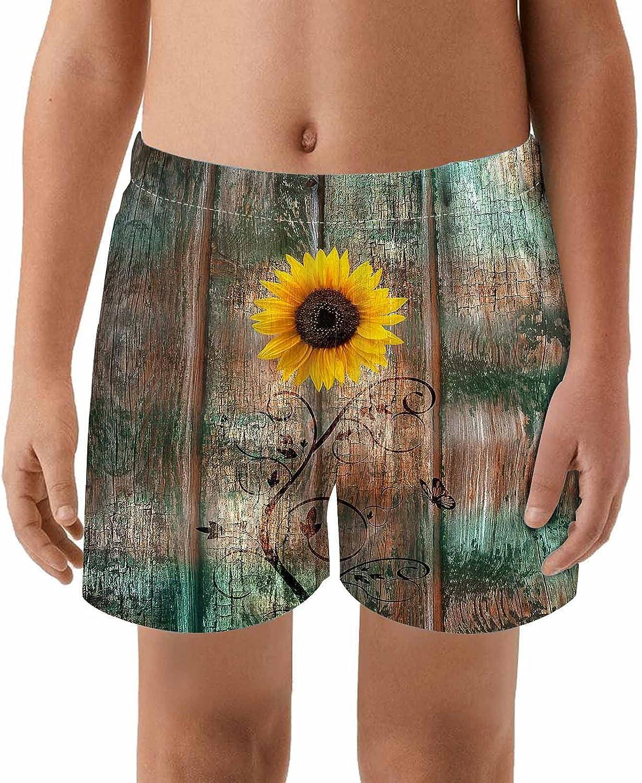 WONDERTIFY Sunflower Butterfly Kids Swim Trunks Floral Vintage Board Toddler Beach Shorts Quick Dry Bathing Suit Swimsuit Boy Swimwear Boardshort Colorful 4T