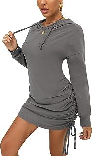Chriselda Sudadera casual de manga larga con capucha para mujer, con cordón lateral fruncido, vestido corto con capucha