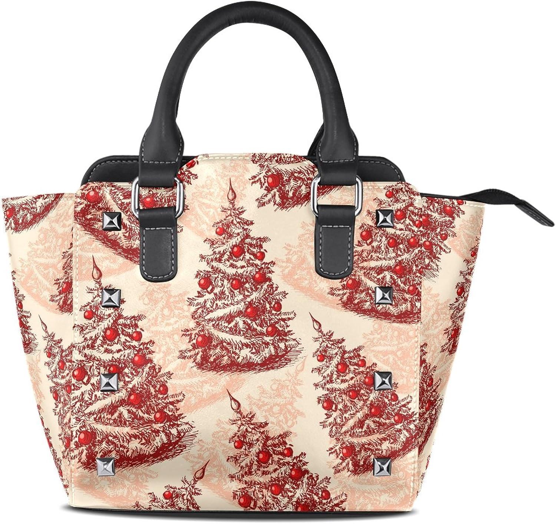 Sunlome Christmas Trees Hand Draw Print Handbags Women's PU Leather Top-Handle Shoulder Bags