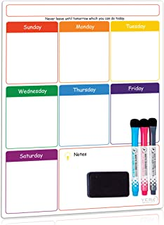 Magnetic Dry Erase Weekly Calendar for Fridge with Stain Resistant Technology - 16 x 12 in - Includes 3 Premium Markers and Big Eraser - Weekly Calendar Whiteboard - Refrigerator White Board Planner