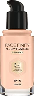 Max Factor Facefinity All Day Flawless, Liquid Foundation, 3in1, 055 Beige, 30 ml