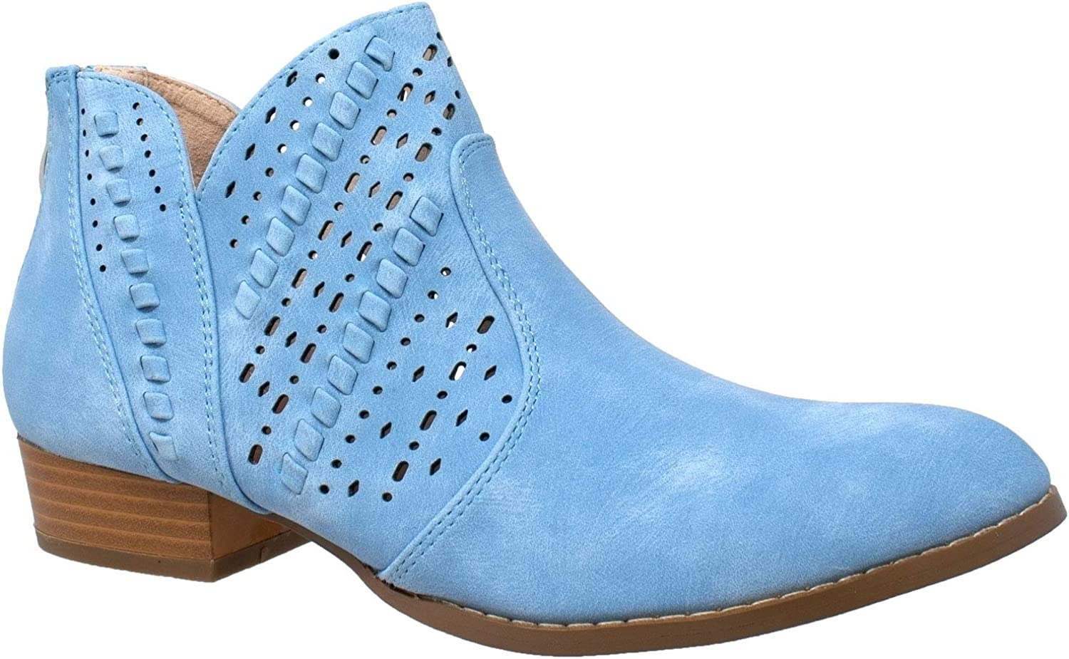 SOBEYO Womens Ankle Boots Western Block Heel Bootie Perforated Cutout shoes