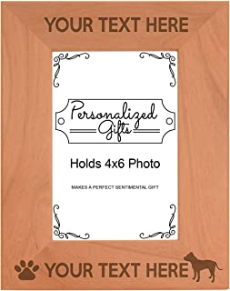 Personalized Gifts Custom Dog Picture Frame Pitbull Your Text Best Pitbull Ever Customized Dog Name Natural Wood Engraved 4x6 Portrait Picture Frame Wood