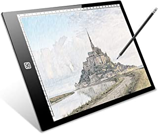 A4 Ultra-Thin Tracing Light Board, IKYE Portable LED Light Box Tracer Dimmable Brightness LED Artcraft Tracing Light Box Light Pad for Artists Drawing Sketching Animation Stencilling X-ray Viewing