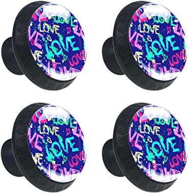 Love and Hearts 4Pcs Drawer Cabinet Handle Knobs Round with Screws for Home Office Cabinet