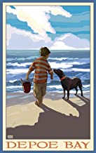 Northwest Art Mall Depoe Bay Boy Dog East Unframed Prints by Joanne Kollman, 11-Inch by 17-Inch
