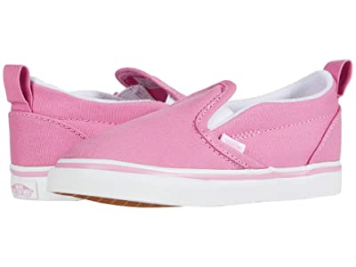 Vans Kids Slip-On V (Infant/Toddler) (Fuchsia Pink/True White) Girls Shoes