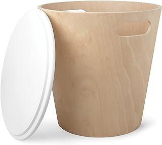 UMBRA Woodrow Storage Stool. Tabouret de rangement Woodrow. Tabouret rond en bois naturel et couvercle laqué blanc, idéal ...