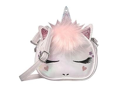 OMG! Accessories Metallic Unicorn Crossbody (White) Handbags