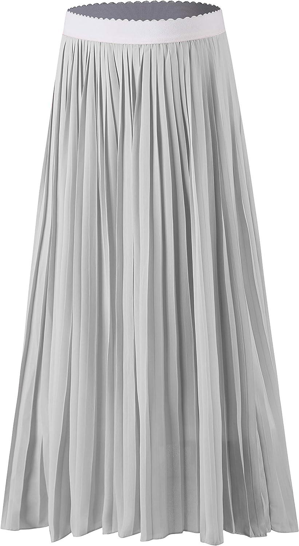 Sweetbei J Womens High Waist Pleated Chiffon A Line Midi Skirt