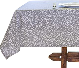 Amelie Michel Wipe-Clean French Tablecloth in Courmayeur Grey   Authentic French Acrylic-Coated 100% Cotton Fabric   Easy Care, Spill Proof [60