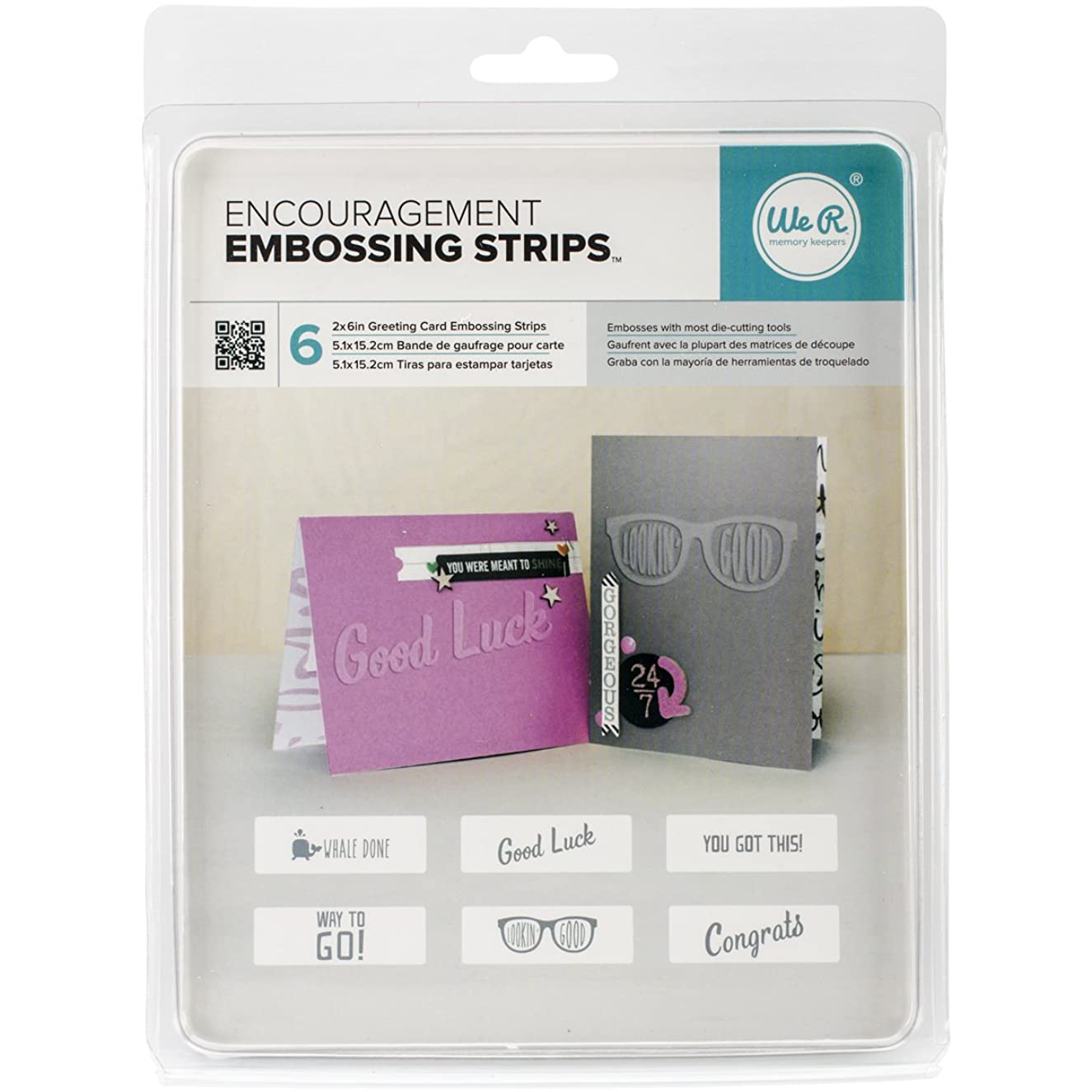 American Crafts We R Memories 6 Piece Embossing Strips Phrases, 6 x 2, Encouragement