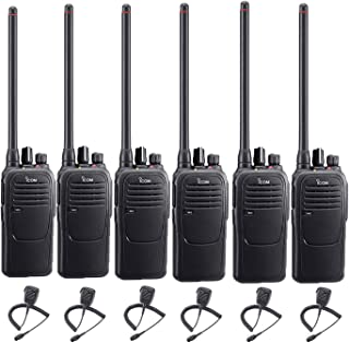 6 Pack of Icom F1000 VHF Analog Two Way Radios PREPROGRAMMED with HM159 Speaker Mics