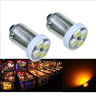 Per-Accurate Inc. PA 10PCS #1893 #44 #47 #756 #1847 BA9S 4SMD LED Wedge Pinball Machine Light Bulb Yellow(Orange/ Amber)-6.3V