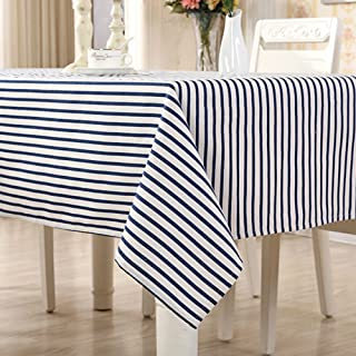 CH&Q Rectangular Tablecloth - 54 X 96 Inch Blue Gingham Waterproof and Spill Proof Washable Cotton Linen Oblong Shape Table Cloth - Used for Tea/Coffee/Party/Farm/Dining/Buffet Table Cloth