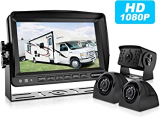 Fookoo Ⅱ HD Backup Camera System HD Backup Camera System Kit,1080P 7'' Split Screen Monitor+IP69 Waterproof Rear View Camera for Truck/Trailer/Box/RV/Trailer/Tractor/ 5th Wheel/Bus (FHD3)