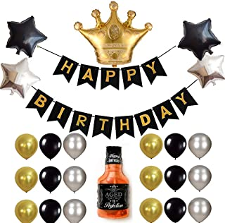 Birthday Decoration Set, Gold and Black Happy Birthday Banner Balloons Kit Crown Balloons Fits for Birthday Party Decoration