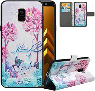 LFDZ Compatible with Samsung A8 Case (2018),PU Leather Galaxy A8 Wallet Case with [RFID Blocking],2 in 1 Magnetic Detachable Flip Slim Cover Case for Samsung Galaxy A8 2018,Deer