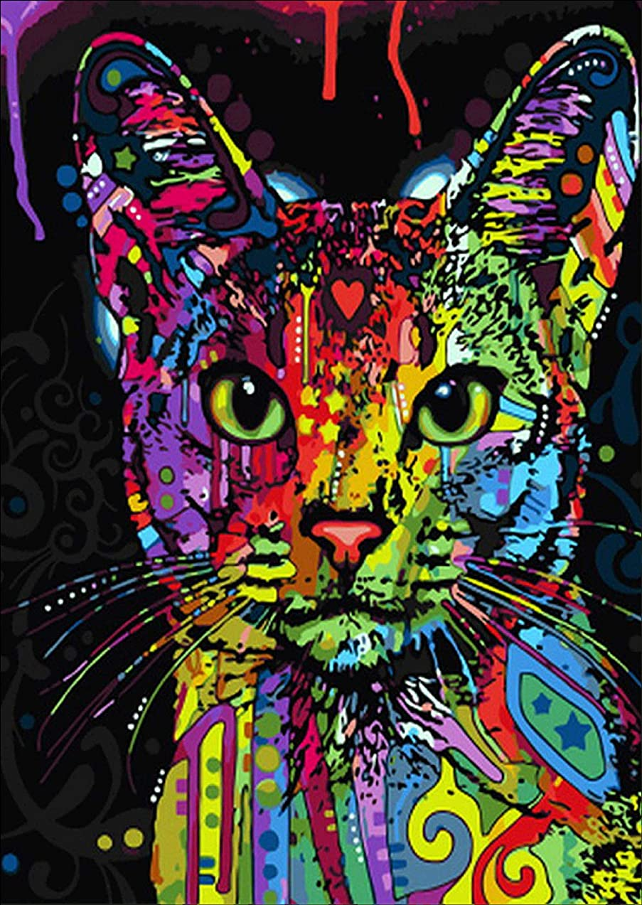 DIY 5D Diamond Painting Kit, Round Diamond Colorful cat Embroidery Rhinestone Cross Stitch Arts Craft Supply for Home Wall Decor 12x16 inches