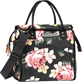 Kaome Lunch Bag for Women, Reusable Insulated Lunch Box, Double Zippers Wide Open Lunch Cooler Container Bag, Durable Leakproof Picnic Bags for Men Work School Outdoor Flower (Pink)
