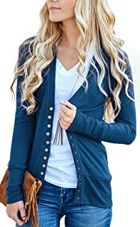 07a7f546b1 NENONA Women s V-Neck Button Down Knitwear Long Sleeve Soft Basic Knit Snap  Cardigan Sweater