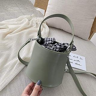 LIMING High-end bucket bag women's tide slanting western style girl shoulder fashion handbag,Colour:Beige Large (Color : M...