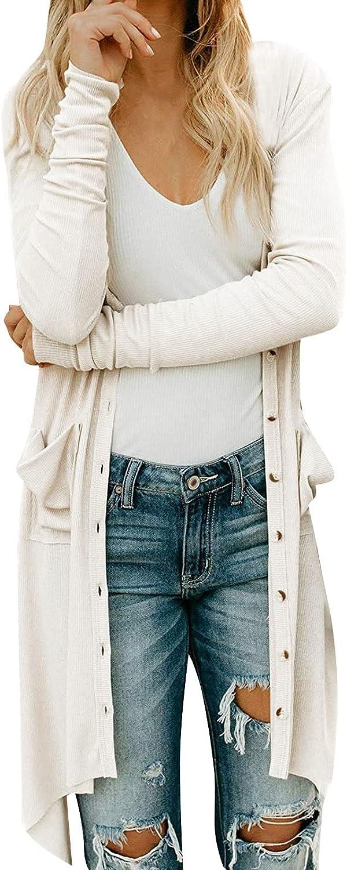 LOOKAA Women Open Front Cardigan Sweaters Pockets Long Sleeve Shrugs Long Cardigan Lightweight Knit Fall Outwear Sweater